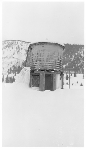 D&amp;RGW Crested Butte water tank in winter showing prominent ice from leaks.<br /> D&amp;RGW  Crested Butte, CO