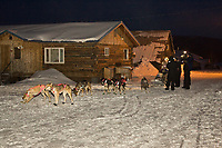 Dee Dee Jonrowe arrives in Kaltag early on Sunday morning during Iditarod 2008
