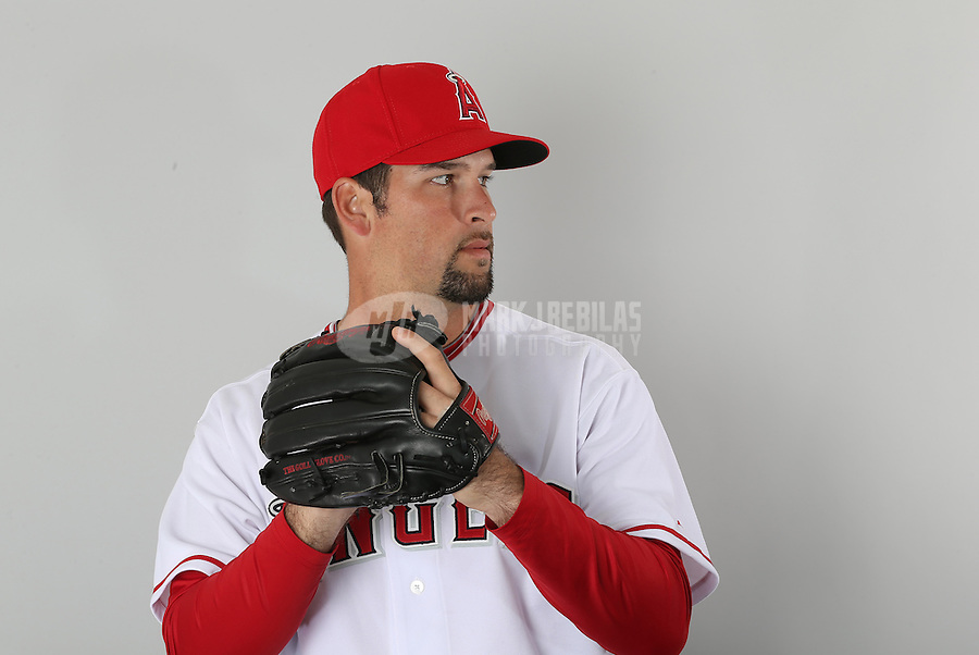 Feb. 21, 2013; Tempe, AZ, USA: Los Angeles Angels pitcher Kevin Johnson poses for a portrait during photo day at Tempe Diablo Stadium. Mandatory Credit: Mark J. Rebilas-