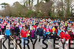 The crowd warming up at the start of the Operation Transformation walk in Killarney on Saturday morning