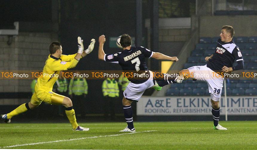 Chris Wood scores the 3rd goal for Millwall - Millwall vs Birmingham City, nPower Championship at the New Den, Millwall - 23/10/12 - MANDATORY CREDIT: Rob Newell/TGSPHOTO - Self billing applies where appropriate - 0845 094 6026 - contact@tgsphoto.co.uk - NO UNPAID USE.