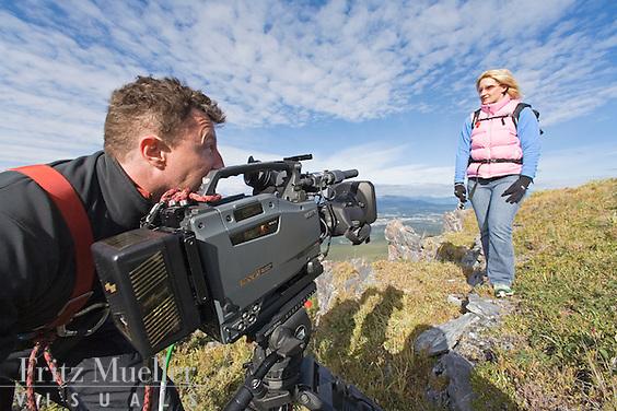 Filmmaker shoots on a mountain near Whitehorse
