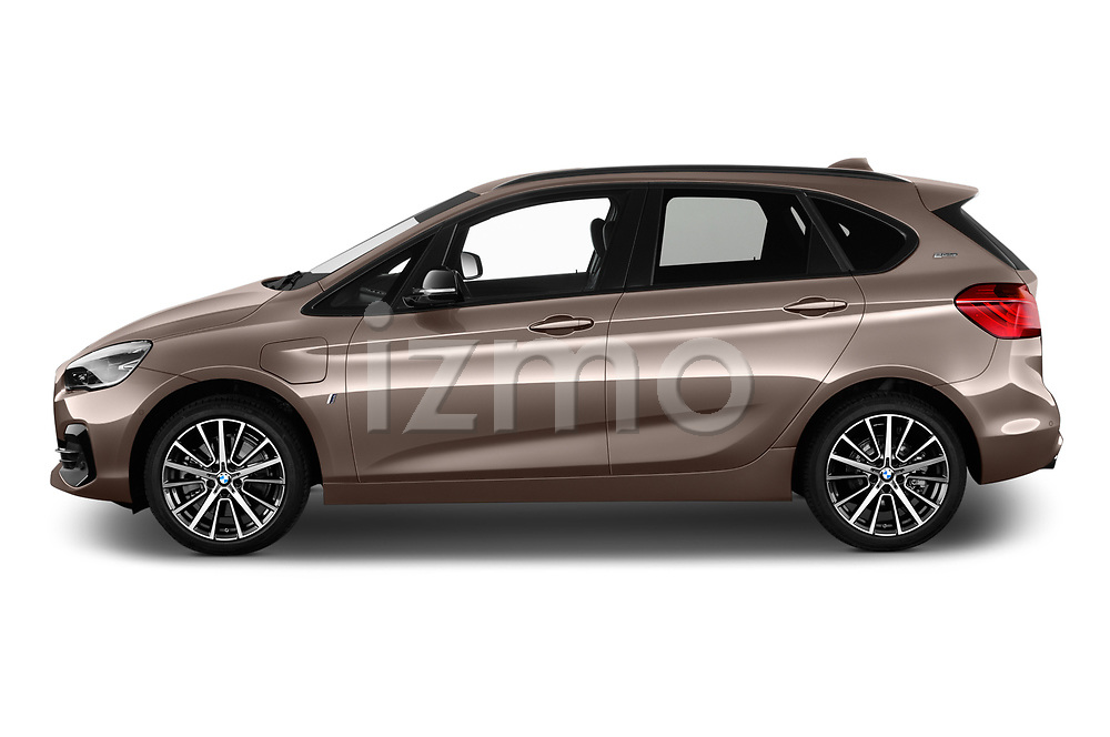 Car driver side profile view of a 2018 BMW 2 Series 225xe iperformance 5 Door Mini Van