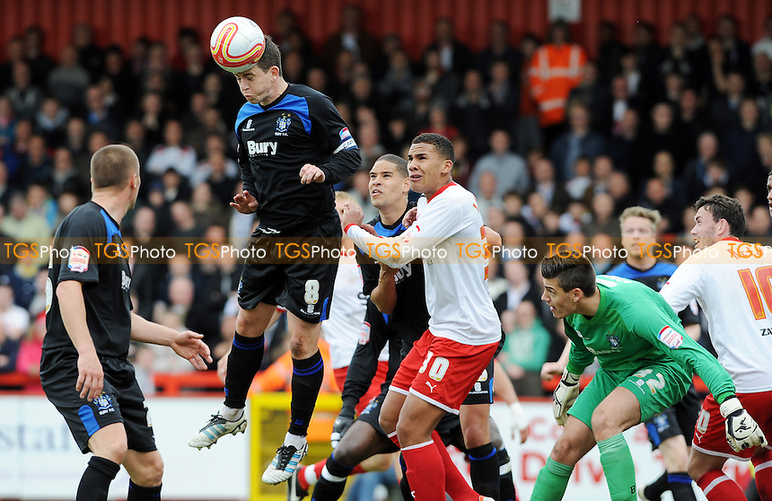 Steven Schumacher of Bury defends a corner from Stevenage - Stevenage vs Bury - nPower League One Football at the Lamex Stadium, Broadhall Way - 05/05/12 - MANDATORY CREDIT: Anne-Marie Sanderson/TGSPHOTO - Self billing applies where appropriate - 0845 094 6026 - contact@tgsphoto.co.uk - NO UNPAID USE.