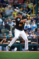 Pittsburgh Pirates catcher Reese McGuire (84) at bat during a Spring Training game against the Toronto Blue Jays  on March 3, 2016 at McKechnie Field in Bradenton, Florida.  Toronto defeated Pittsburgh 10-8.  (Mike Janes/Four Seam Images)