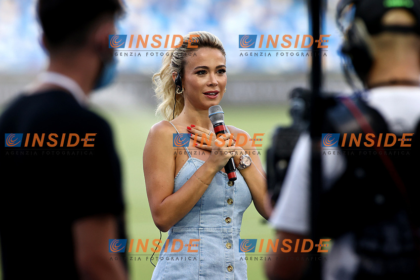 Tv presenter Diletta Leotta at work prior to the Serie A football match between SSC Napoli and US Sassuolo at stadio San Paolo in Napoli ( Italy ), July 25th, 2020. Play resumes behind closed doors following the outbreak of the coronavirus disease. <br /> Photo Cesare Purini / Insidefoto