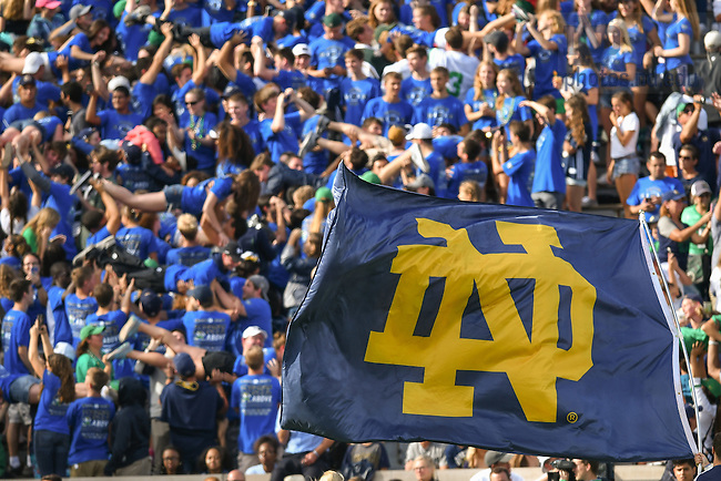 September 10, 2016; ND Monogram flag (Photo by Matt Cashore)