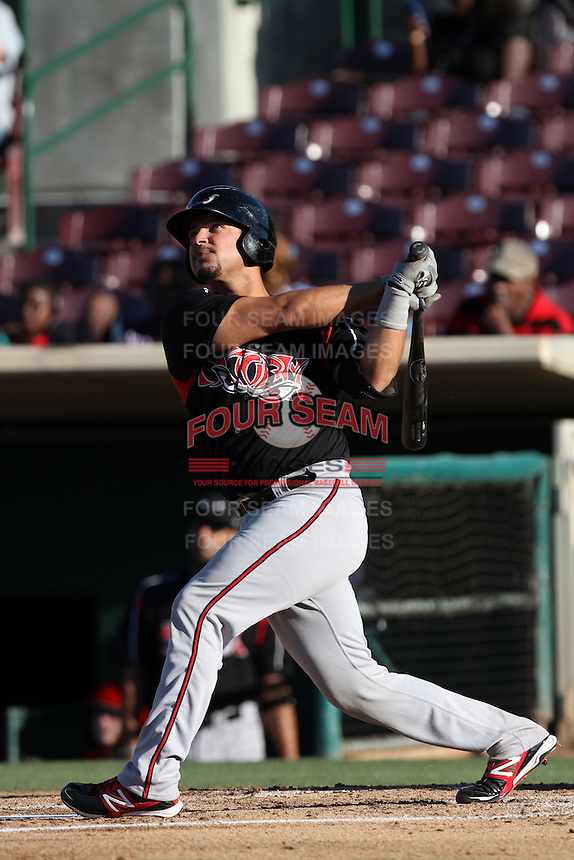 Eddy Rodriguez #21 of the Lake Elsinore Storm bats against the Inland Empire 66'ers at San Manuel Stadium on July 15, 2012 in San Bernardino, California. Inland Empire defeated Lake Elsinore 4-3. (Larry Goren/Four Seam Images)