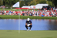 Patrick Reed (Team USA) during Sunday Singles matches at the Ryder Cup, Hazeltine National Golf Club, Chaska, Minnesota, USA. 02/10/2016<br /> Picture: Golffile | Fran Caffrey<br /> <br /> <br /> All photo usage must carry mandatory copyright credit (&copy; Golffile | Fran Caffrey)