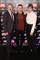 "Graham Norton, Gary Barlow and Mel Giedroyc<br /> at the ""Let it Shine"" launch, Ham Yard Hotel, London.<br /> <br /> <br /> ©Ash Knotek  D3214  13/12/2016"