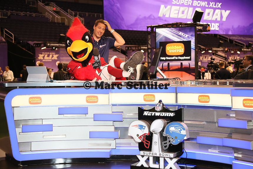Arizona Cardinals Maskottchen Big Red hat Spaß am Stand von NFL Network - Super Bowl XLIX Media Day, US Airways Center, Phoenix