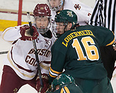 Julius Mattila (BC - 26), Derek Lodermeier (UVM - 16) - The visiting University of Vermont Catamounts tied the Boston College Eagles 2-2 on Saturday, February 18, 2017, Boston College's senior night at Kelley Rink in Conte Forum in Chestnut Hill, Massachusetts.Vermont and BC tied 2-2 on Saturday, February 18, 2017, Boston College's senior night at Kelley Rink in Conte Forum in Chestnut Hill, Massachusetts.