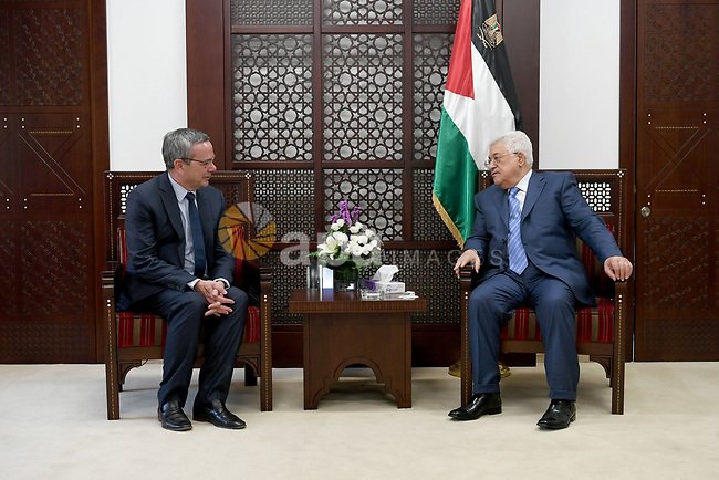 Palestinian President Mahmoud Abbas meets with a Head of the Parliamentary Assembly of NATO in the West Bank city of Ramallah on July 11, 2017. Photo by Osama Falah