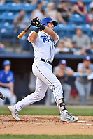 Asheville Tourists third baseman Danny Edgeworth (16) swings at a pitch during a game against the Hagerstown Suns at McCormick Field on April 30, 2019 in Asheville, North Carolina. The Tourists defeated the Suns 5-4. (Tony Farlow/Four Seam Images)