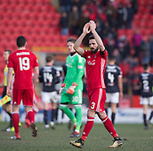 17th March 2018, Pittodrie Stadium, Aberdeen, Scotland; Scottish Premier League football, Aberdeen versus Dundee; Graeme Shinnie of Aberdeen applauds the fans at the end
