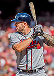 8 July 2017: Atlanta Braves first baseman Matt Adams in action against the Washington Nationals at Nationals Park in Washington, DC. The Braves shut out the Nationals 13-0 to take the third game of their 4-game series. Mandatory Credit: Ed Wolfstein Photo *** RAW (NEF) Image File Available ***