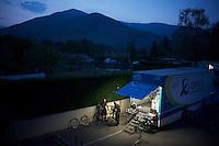 Team Orica-GreenEDGE mechanics at work after stage 20 of the 2015 Giro
