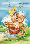 Interlitho, Michele, CUTE ANIMALS, paintings, bear, duck, bath(KL3606,#AC#)