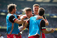 Chris Wyles of Saracens celebrates his first half try with team-mates. Aviva Premiership Final, between Saracens and Exeter Chiefs on May 28, 2016 at Twickenham Stadium in London, England. Photo by: Patrick Khachfe / JMP