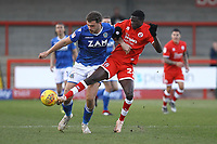 Harry Smith of Macclesfield Town and Panutche Camara of Crawley Town during Crawley Town vs Macclesfield Town, Sky Bet EFL League 2 Football at Broadfield Stadium on 23rd February 2019