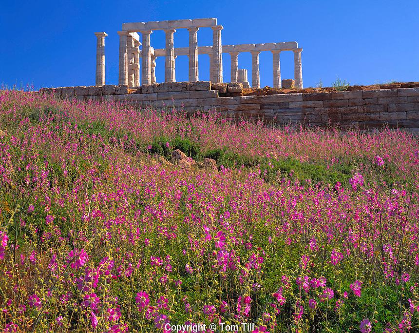 Temple of Poseidon, Attica Pennisula, Greece   Sounion Promontory Aegean Sea  5th Century B.C. Shrine to Sea God