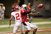 January 5th, 2008:  Ball State cornerback B.J. Hill (3) breaks up a pass to Rutgers wide receiver Tim Brown (2) during the International Bowl at the Rogers Centre in Toronto, Ontario Canada...Rutgers defeated Ball State 52-30.  ..Photo By:  Mike Janes Photography