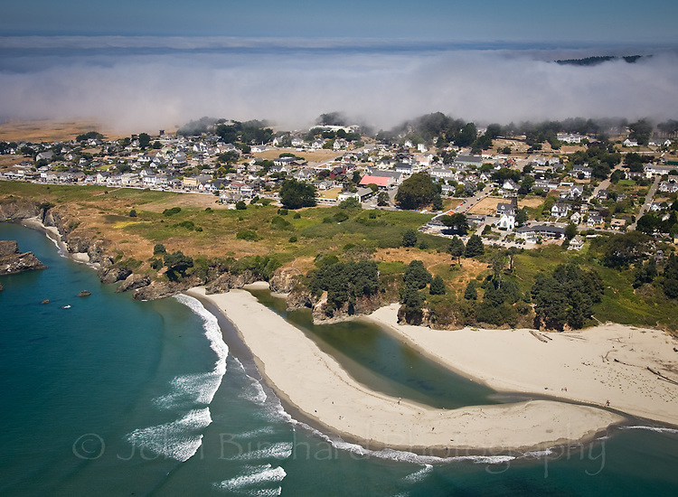 An aerial view of Big River Beach and the village of Mendocino.