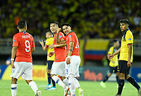 PEREIRA - COLOMBIA, 18-01-2020: Camilo Moya de Chile celebra después de anotar el segundo gol de su equipo a Ecuador durante partido de la fecha 1, grupo A, del CONMEBOL Preolímpico Colombia 2020 jugado en el estadio Hernán Ramírez Villegas de Pereira, Colombia. /  Camilo Moya of Chile celebrates after scoring the second goal of his team to Ecuador during match of the date 1, group A, for the CONMEBOL Pre-Olympic Tournament Colombia 2020 played at Hernan Ramirez Villegas stadium in Pereira, Colombia. Photo: VizzorImage / Julian Medina / Cont