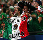 21 June 2006: Unidentified Mexico fan shows his support in the front row of Veltins Arena. Portugal defeated Mexico 2-1 at Veltins Arena in Gelsenkirchen, Germany in match 39, a Group D first round game, of the 2006 FIFA World Cup.  With the win, Portugal won the group, but both teams will advance to second round play.