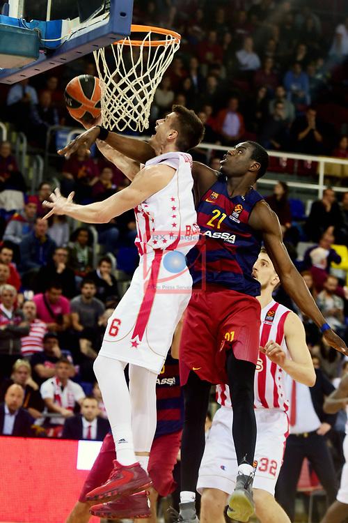 Turkish Airlines Euroleague 2016/2017.<br /> Regular Season - Round 28.<br /> FC Barcelona Lassa vs Crvena Zvezda MTS Belgrade: 67-54.<br /> Nemanja Dangubic vs Moussa Diagne.