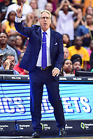 Washington, DC - August 17, 2018: Los Angeles Sparks head coach Brian Agler calls out a play from the sideline during game between the Washington Mystics and Los Angeles Sparks at the Capital One Arena in Washington, DC. (Photo by Phil Peters/Media Images International)