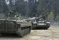 - NATO in Germany; U.S.Army, Foreign Materials Training Detachment (FMTD) at Grafenwoehr training area, Soviet BMP infantry fighting vehicle and T 55 (October 1985)<br />