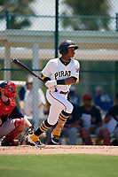 GCL Pirates Angel Basabe (16) bats during a Gulf Coast League game against the GCL Red Sox on August 1, 2019 at Pirate City in Bradenton, Florida.  GCL Red Sox defeated the GCL Pirates 11-3.  (Mike Janes/Four Seam Images)
