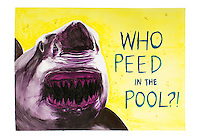 Who Peed in the Pool? Watercolor on mixed media paper, 11x16 print