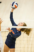 NWA Democrat-Gazette/BEN GOFF @NWABENGOFF<br /> Kayley McClain of Rogers Heritage hits the ball over in the 2nd set vs Bentonville West Thursday, Sept. 13, 2018, at War Eagle Arena in Rogers.