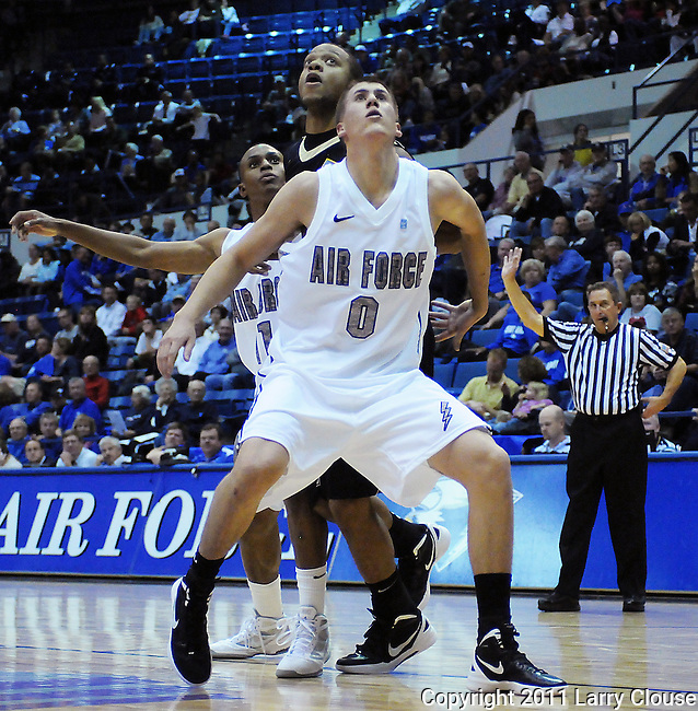 November 11, 2011:   Air Force forward, Marek Olesinski (0), during the opening game of the All Military Classic between the Army Black Knights and the Air Force Falcons at Clune Arena, United States Air Force Academy, Colorado Springs, CO.  Air Force defeats Army 87-71in the season opener for both teams.
