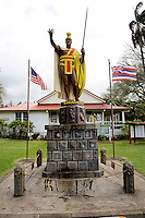 The original King Kamehameha I Statue in front of the North Kohala Civic Center. Kapa'au, Big Island, Hawaii RIGHTS MANAGED LICENSE AVAILABLE FROM www.PhotoLibrary.com