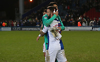 Blackburn Rovers' David Raya and Blackburn Rovers Adam Armstrong, celebrate todays win at the end of todays match<br /> <br /> <br /> <br /> Photographer Rachel Holborn/CameraSport<br /> <br /> The EFL Sky Bet League One - Blackburn Rovers v Shrewsbury Town - Saturday 13th January 2018 - Ewood Park - Blackburn<br /> <br /> World Copyright &copy; 2018 CameraSport. All rights reserved. 43 Linden Ave. Countesthorpe. Leicester. England. LE8 5PG - Tel: +44 (0) 116 277 4147 - admin@camerasport.com - www.camerasport.com