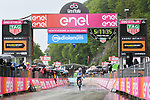 Richard Carapaz (ECU) Movistar Team crosses the finish line solo to win Stage 8 of the 2018 Giro d'Italia, running 209km from Praia a Mare to Montevergine di Mercogliano, Italy. 12th May 2018.<br /> Picture: LaPresse/Gian Mattia D'Alberto | Cyclefile<br /> <br /> <br /> All photos usage must carry mandatory copyright credit (&copy; Cyclefile | LaPresse/Gian Mattia D'Alberto)