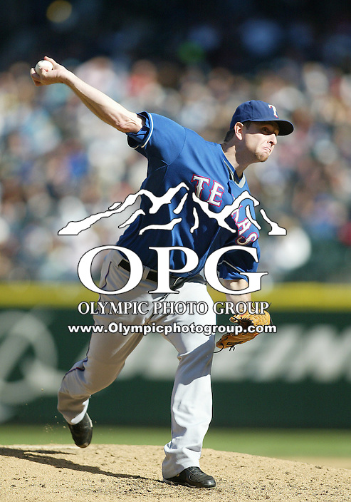 04 October 2009: Texas Rangers starting pitcher #39 Scott Feldman fires the ball to the plate against the Seattle Mariners. Seattle won 4-3 over the Texas Rangers at Safeco Field in Seattle, Washington.