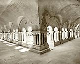 FRANCE, Burgundy, empty corridor, Abbaye De Fontenay, Marmagne (B&W)