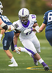 8 October 2016: Amherst College Purple & White Defensive Lineman Niyi Odewade, a Senior from Newark, NJ, in action against the Middlebury College Panthers at Alumni Stadium in Middlebury, Vermont. The Panthers edged out the Purple & While 27-26. Mandatory Credit: Ed Wolfstein Photo *** RAW (NEF) Image File Available ***