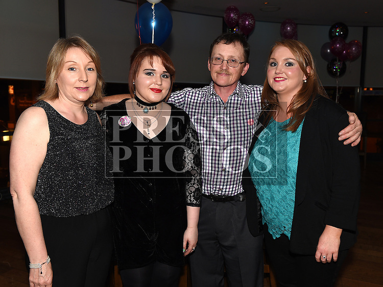 mairead Summerville celebrating her 21st birthday in Brú with parents Alan and Phil and sister Chrissie. Photo:Colin Bell/pressphotos.ie