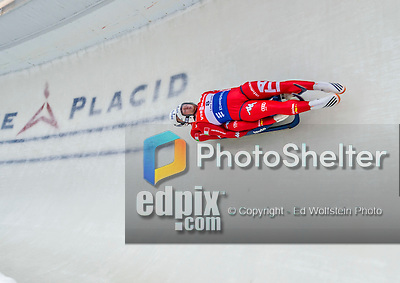 5 December 2014:  Christian Oberstolz and Patrick Gruber, sliding for Italy, bank into Curve 10 on their second run, ending the day with a 7th place finish and a combined 2-run time of 1:28.288 in the Men's Doubles Competition at the Viessmann Luge World Cup, at the Olympic Sports Track in Lake Placid, New York, USA. Mandatory Credit: Ed Wolfstein Photo *** RAW (NEF) Image File Available ***