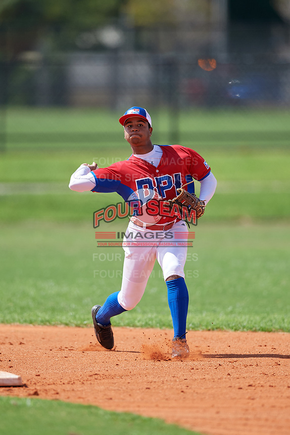Enmanuel Bonilla (6) during the Dominican Prospect League Elite Florida Event at Pompano Beach Baseball Park on October 14, 2019 in Pompano beach, Florida.  (Mike Janes/Four Seam Images)