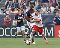 Foxborough, Massachusetts - June 8, 2014:  In a Major League Soccer (MLS) match, New York Red Bulls (white/red) defeated the New England Revolution (blue/white), 2-0, at Gillette Stadium.