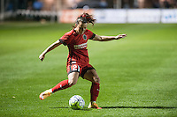 Kansas City, Mo. - Saturday April 23, 2016: Portland Thorns FC forward Hayley Raso (21) during a match against FC Kansas City at Swope Soccer Village. The match ended in a 1-1 draw.
