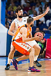 Real Madrid's player Sergio Llull and Valencia Basket's Diot during the first match of the Semi Finals of Liga Endesa Playoff at Barclaycard Center in Madrid. June 02. 2016. (ALTERPHOTOS/Borja B.Hojas)
