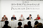 (L to R) The 28th Praemium Imperiale winners Pedro Mendes da Rocha, Martin Scorsese, Gidon Kremer, Annette Messager and Cindy Sherman speak during a press conference for the 28th Praemium Imperiale Awards on October 17, 2016, Tokyo, Japan. American film director Martin Scorsese won the annual Praemium Imperiale award in the Theatre/Film category. The Praemium Imperiale is a global arts prize awarded every year since 1989 by the Japanese imperial family on behalf of the Japan Art Association in five disciplines (painting, sculpture, architecture, music and theatre/film.) (Photo by Rodrigo Reyes Marin/AFLO)