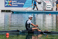 """Lucerne, SWITZERLAND, 15th July 2018, Sunday, """"Men's Single Sculls"""" """"Gold Medalist"""", Robbie MANSON, FISA World Cup III Lake Rotsee, © Peter SPURRIER,"""